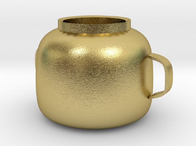 Square pot in Natural Brass