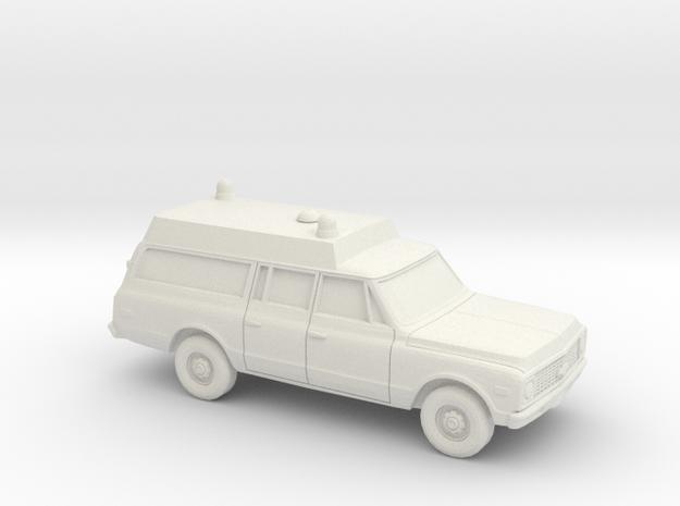 1/87 1971-72 Chevrolet Suburban Ambulance in White Natural Versatile Plastic