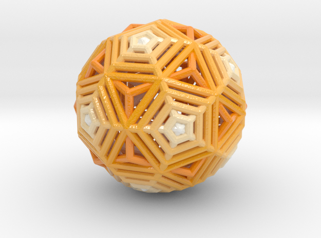 Dodecahedron to Icosahedron Transition in Glossy Full Color Sandstone
