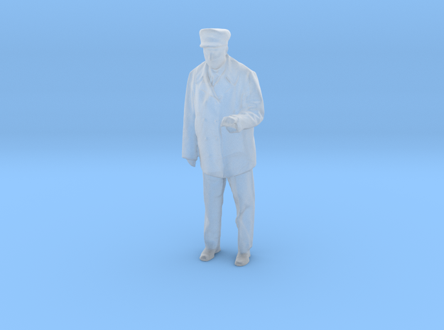 Standing motorman or operator figure with left arm in Smooth Fine Detail Plastic: 1:48 - O
