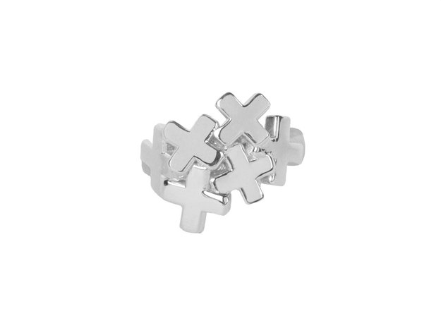 Small Cluster Plus Ring in Polished Silver