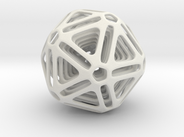 Nested Icosahedron in White Natural Versatile Plastic