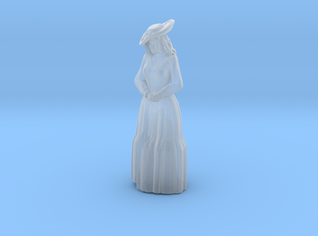 Woman Standing: Long Dress & Hat in Smoothest Fine Detail Plastic: 1:64 - S
