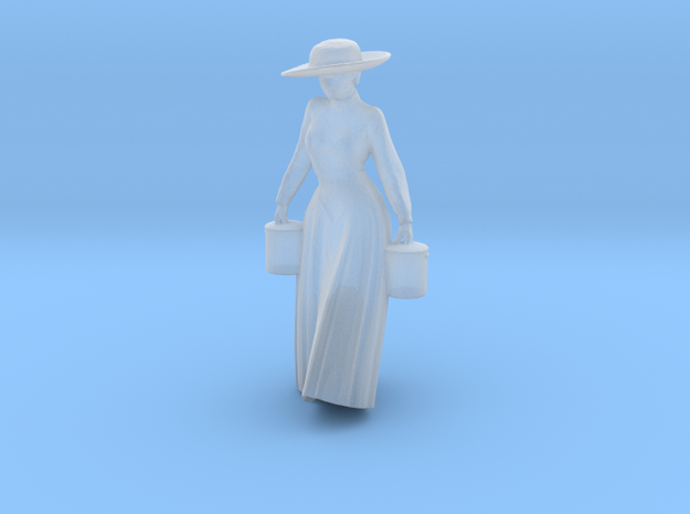 Woman Walking: Long Dress & Hat Carrying Buckets in Smoothest Fine Detail Plastic: 1:64 - S