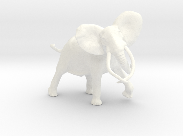 African Elephant in White Processed Versatile Plastic