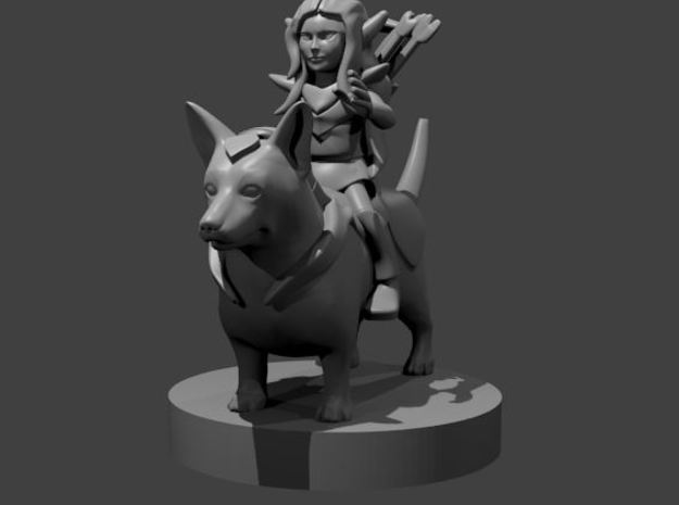 Fey Caster / Warrior on Corgi  in Smooth Fine Detail Plastic