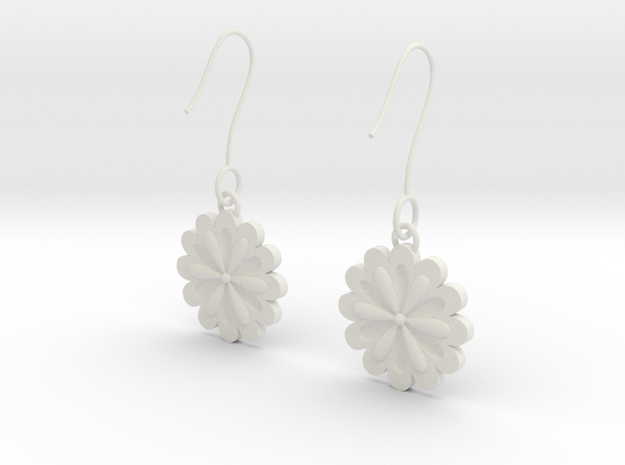 Daisy earrings in White Natural Versatile Plastic