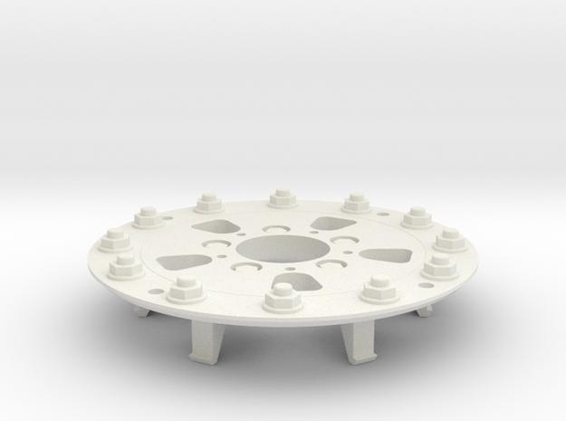 TRX-4 Hutchinson Wheel Cap 12 Nuts - One Piece in White Natural Versatile Plastic