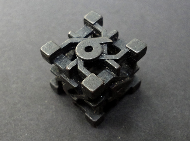 Intangle d6 in Polished and Bronzed Black Steel