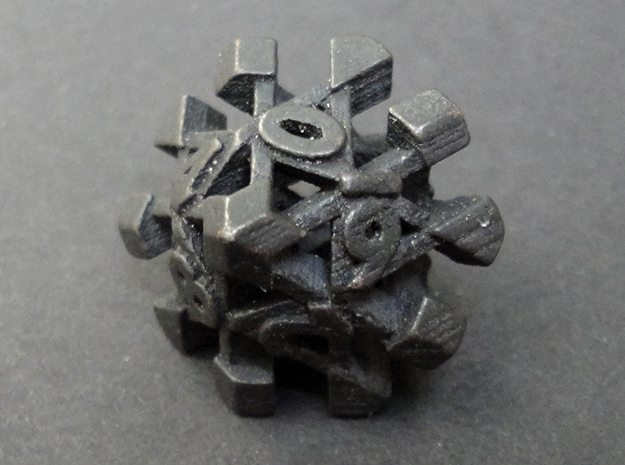 Intangle Die10 in Polished and Bronzed Black Steel