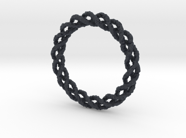 Twisted Single Strand Ring No.1 in Black PA12