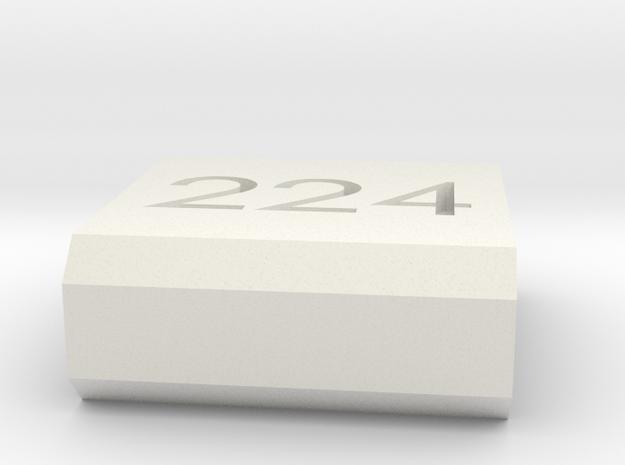 Caliber Marker - Picatinny - 224 Valkyre in White Natural Versatile Plastic