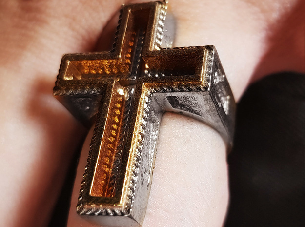 Empty Cross Ring in Natural Silver: 4 / 46.5
