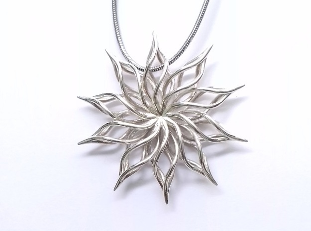 Sunflower Pendant in Raw Silver