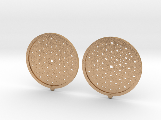 Quasicrystals Diffraction Pattern Pendant - earrin in Natural Bronze