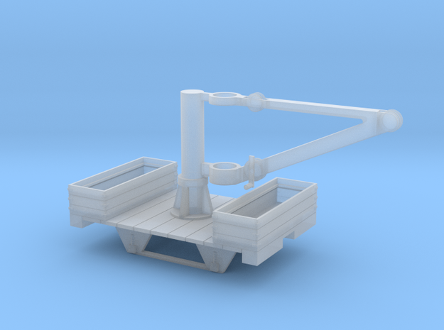 ON18 Crane Car with weight buckets in Smooth Fine Detail Plastic