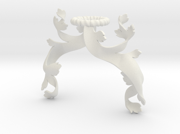 Foliage Mantling (Asymmetrical) in White Natural Versatile Plastic: Small