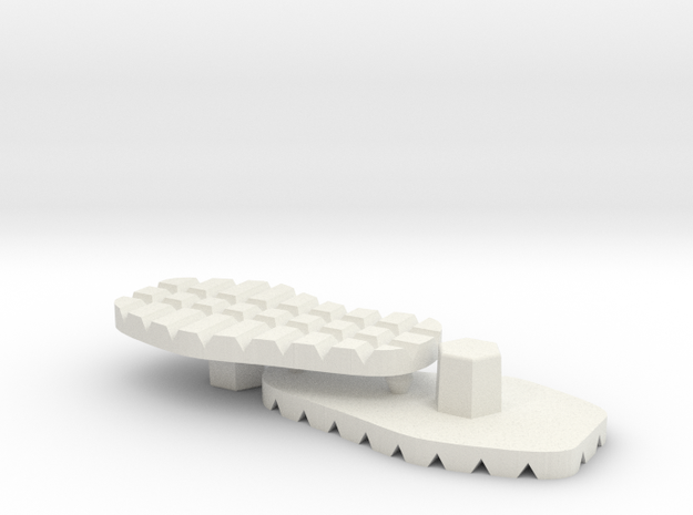Tread Soles Set for ModiBot ExoSkin in White Natural Versatile Plastic