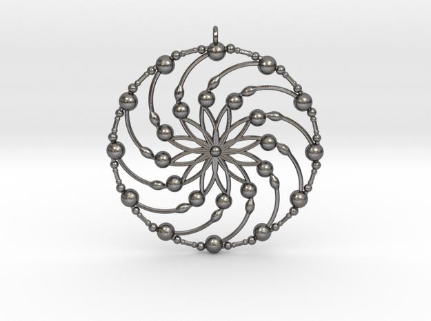 Crop circle pendant 6 in Polished Nickel Steel