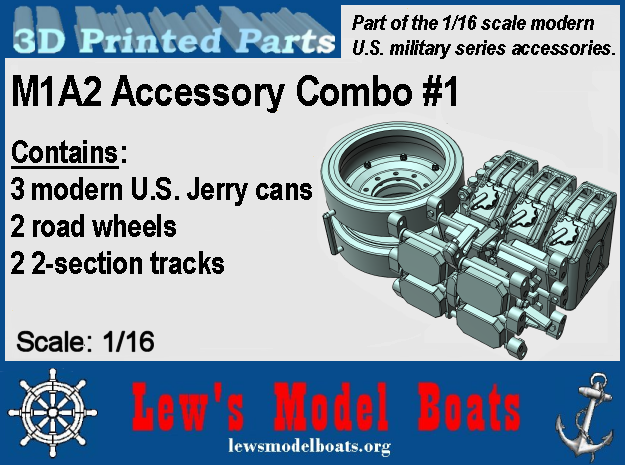 """M1A2 """"Combo 1"""" Tracks Wheels Cans 1/16 scale in White Natural Versatile Plastic: 1:16"""