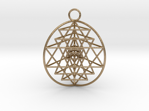 "3D Sri Yantra 3 Sided Optimal Pendant 1.5"" in Polished Gold Steel"