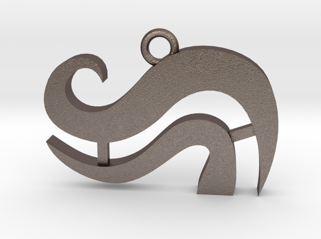 Breath (Wind) Pendant in Polished Bronzed-Silver Steel