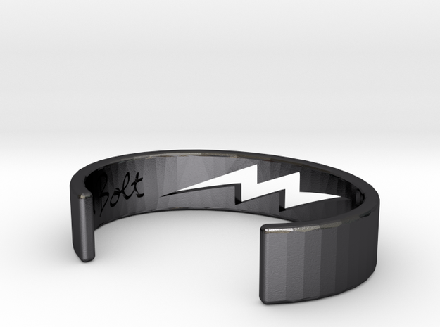 Bolt Bracelet Medium in Polished and Bronzed Black Steel: Extra Small