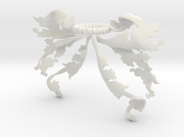 Flora Mantling (Asymmetrical) in White Natural Versatile Plastic: Small