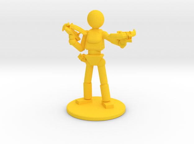 Prototype: Female Dual Crossbows  in Yellow Processed Versatile Plastic