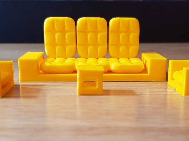 chairs and table in Yellow Processed Versatile Plastic