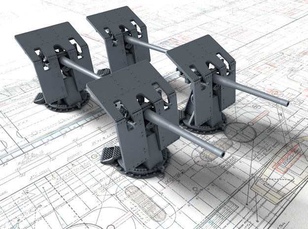 """1/500 12-pdr (3""""/40) 12cwt QF Mark V x4 in Smoothest Fine Detail Plastic"""
