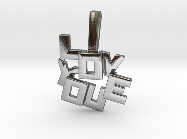 """""""I LOVE YOU"""" Pendant in Polished Silver"""
