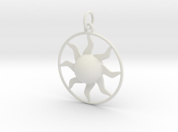 Sun Pendant in White Natural Versatile Plastic
