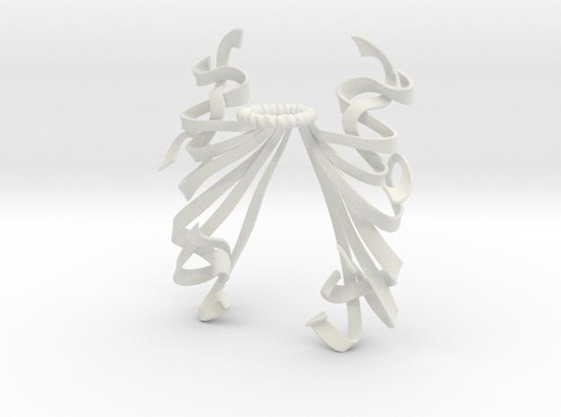 Streamer Mantling (Symmetrical) in White Natural Versatile Plastic: Small