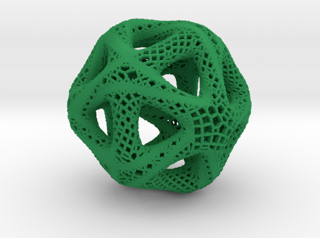 Perforated Twisted Icosahedron Type 2 in Green Processed Versatile Plastic