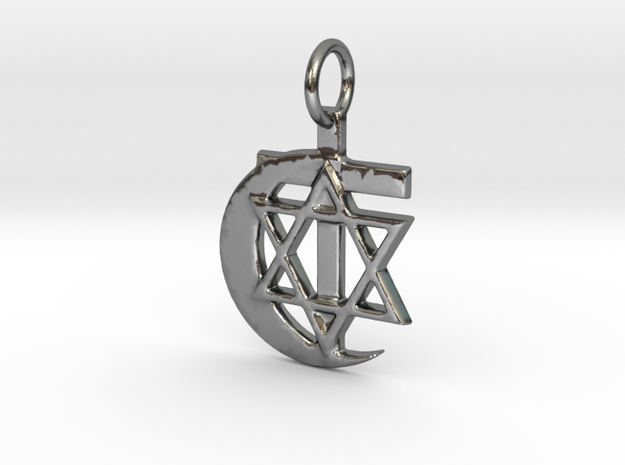 3 Religions Pendant in Polished Silver