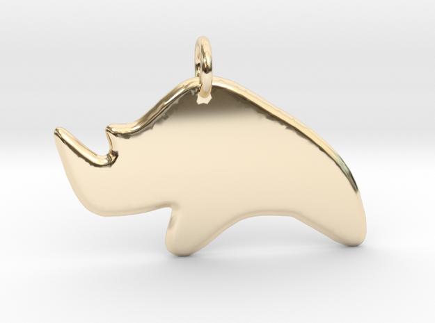 Minimalist Rhino Pendant in 14k Gold Plated Brass