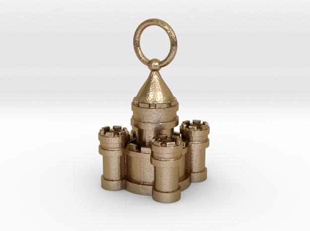 Sand Castle Charm Large in Polished Gold Steel