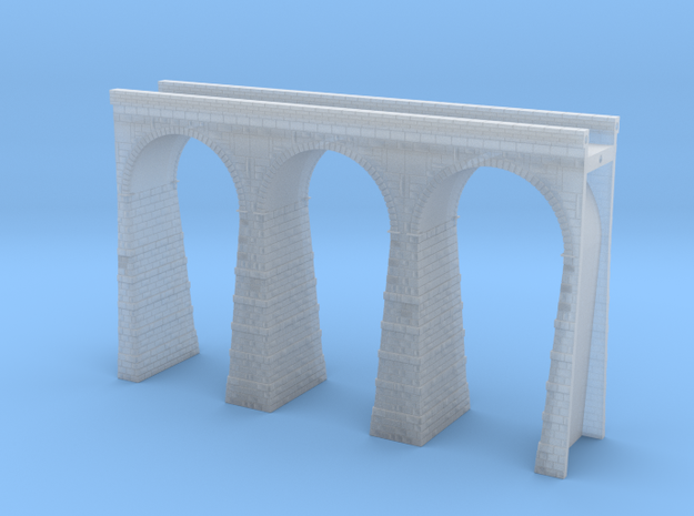 T-scale Stone Viaduct Section (3 Arches) - 112.5mm in Smooth Fine Detail Plastic