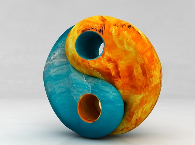 Fire and water yin yang in Matte Full Color Sandstone