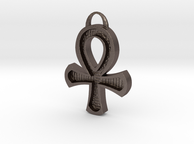 Hollowed Ankh in Polished Bronzed-Silver Steel