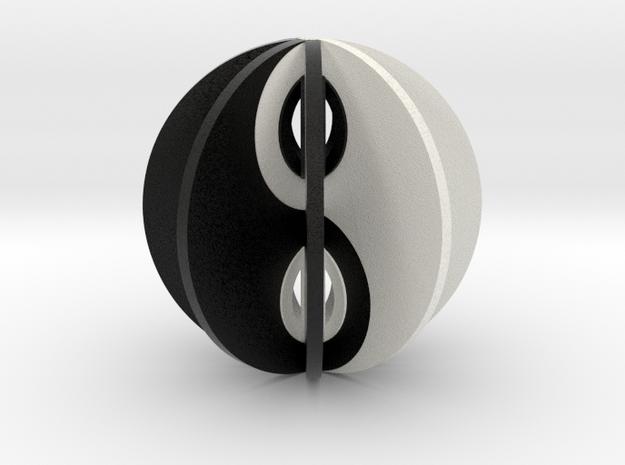 Yin yang sphere in Matte Full Color Sandstone