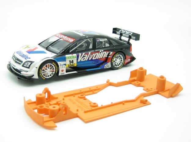 PSSX00401 Chassis for Scalextric Opel Vectra in Orange Processed Versatile Plastic