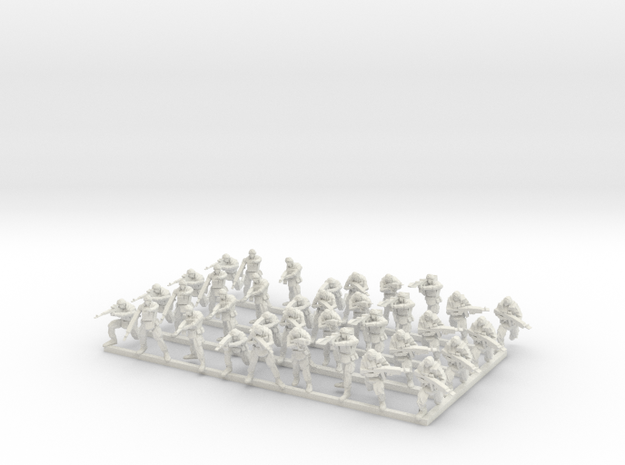 1-87 Russian Infantry in White Natural Versatile Plastic