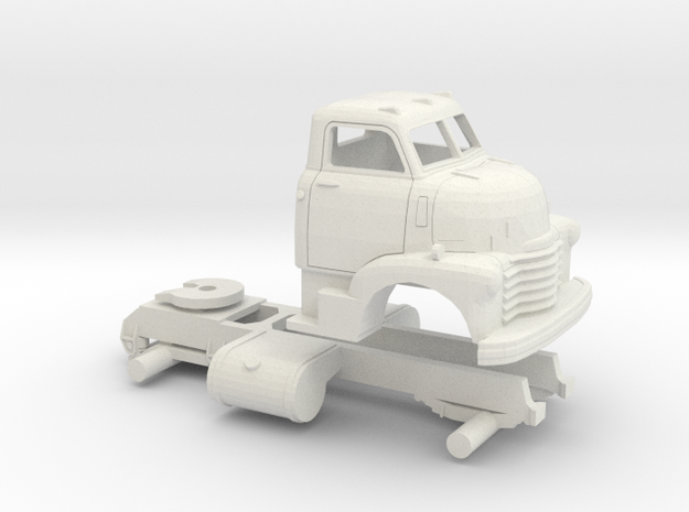1/64 1949 Chevy COE Semi Truck Chassis/Cab only in White Natural Versatile Plastic