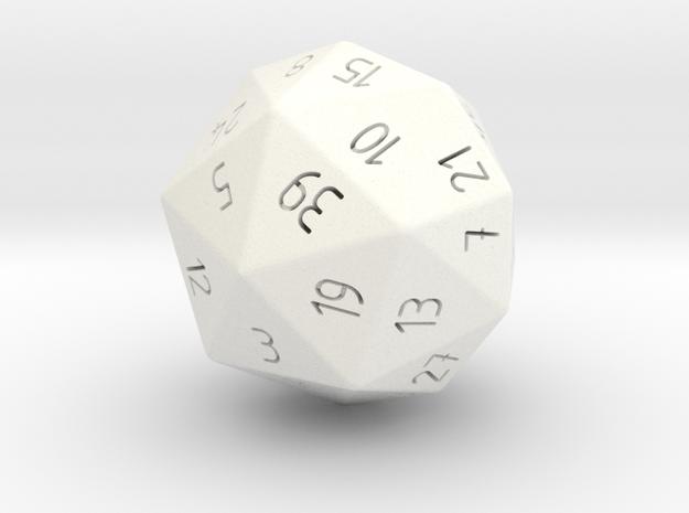 R40 randomized 40 sided die classic design in White Processed Versatile Plastic
