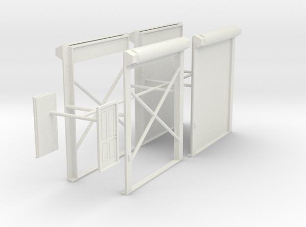 1/64th Truck Shop or Warehouse door set in White Natural Versatile Plastic