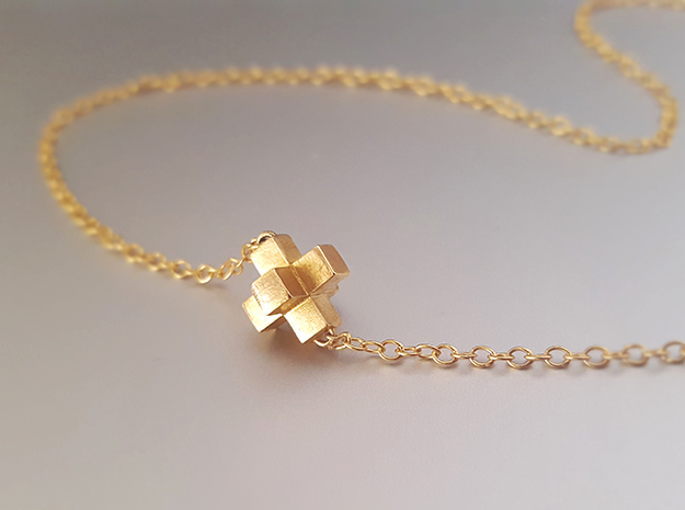Cross Pendent in 14k Gold Plated Brass