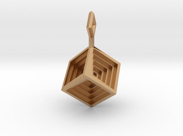 Hypercube_Pendant in Natural Bronze