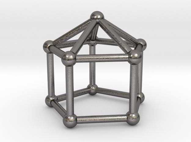 0744 J09 Elongated Pentagonal Pyramid (a=1cm) #2 in Polished Nickel Steel